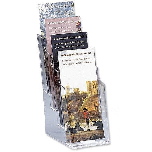 Leaflet &Brochure Holder Display 4 Tier Size DL 1/3xA4 Pockets Clear Deflecto