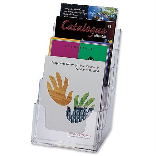 Literature &Brochure Holder Display Multi Tier for Wall or Desktop 4 x A5 Pockets Clear