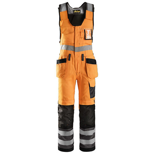 """Snickers 0213 High-Vis One-piece Holster Pocket Trousers Class 2 Size 250 35""""/6'6"""" Hi-Vis Orange/Black"""