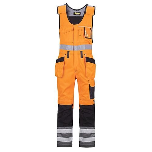 """Snickers 0213 High-Vis One-piece Holster Pocket Trousers Class 2 Size 268 * 57""""/6'6"""" Hi-Vis Orange/Black"""