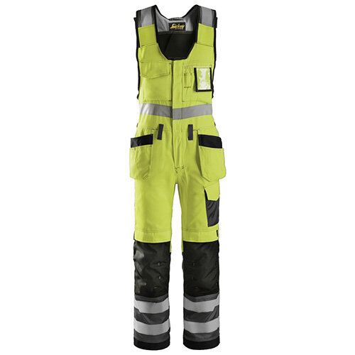 """Snickers 0213 High-Vis One-piece Holster Pocket Trousers Class 2 Size 250 35""""/6'6"""" Hi-Vis Yellow/Black"""
