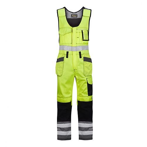 """Snickers 0213 High-Vis One-piece Holster Pocket Trousers Class 2 Size 266 * 54""""/6'6"""" Hi-Vis Yellow/Black"""
