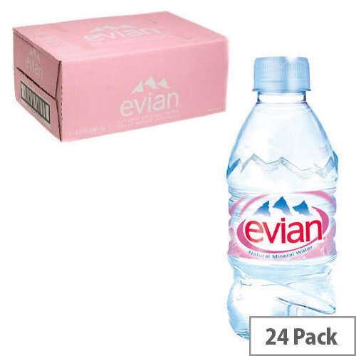 Evian Natural Mineral Still Water, Low Sodium, Provides Excellent Hydration, Suitable for Mothers & Babies, Recyclable 330ml Bottle, Pack of 24