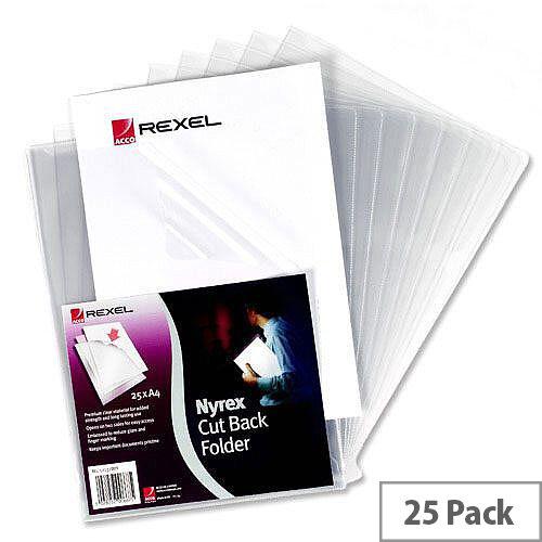 Rexel Nyrex Cut Back Folder A4 Clear 12121 Pack 25
