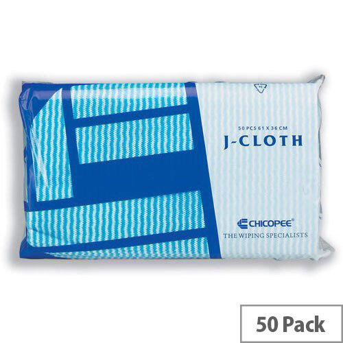 J-Cloth Lightweight Colour Coded Cleaning Cloths Blue Pack 50 0707117
