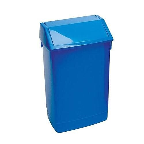 Addis Plastic Flip Top Waste Bin 60 Litres Blue Ref 510796