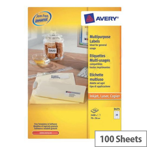 Avery 3475 Labels 24 Per Sheet Copier 70x36mm 2400 Labels