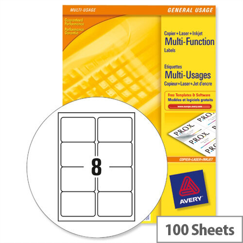 Avery 3427 multi function labels 8 per sheet white 800 for 8 per page label template