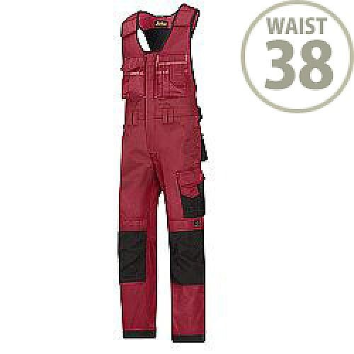 """Snickers 0312 Craftsmen One-piece Trousers DuraTwill Size 54 38""""/5'8"""" Red/Black"""