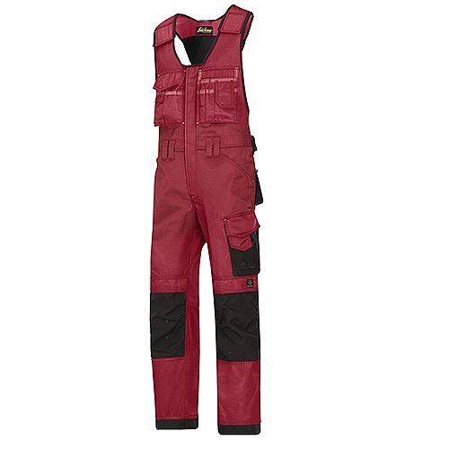 """Snickers 0312 Craftsmen One-piece Trousers DuraTwill Size 250 35""""/6'6"""" Red/Black"""