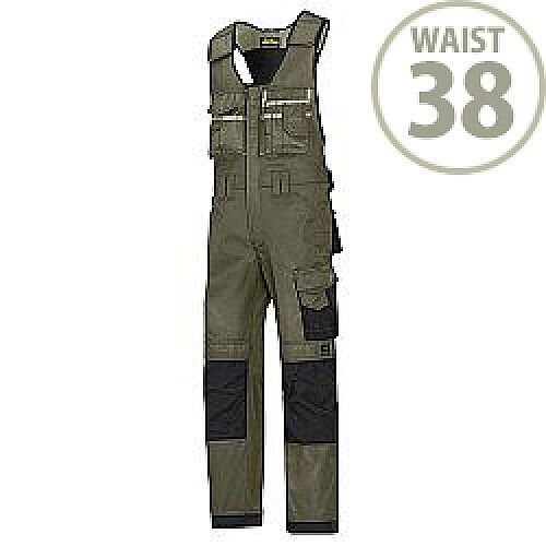 "Snickers 0312 Craftsmen One-piece Trousers DuraTwill Size 104 38""/5'4"" Olive Green/Black"