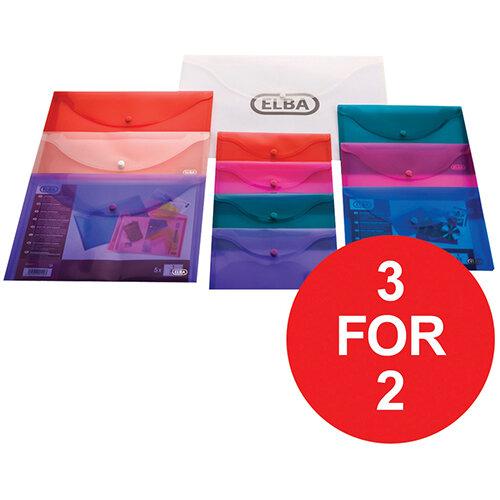 Elba Translucent Wallet PP Stud Fastner A4 Translucent Clr Ref 100080924 [Pack 5] [3 For 2] Jan-Dec 2020