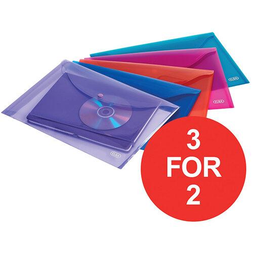 Elba Snap A4 Wallet Polypropylene Integrated Stud Fastening Translucent Assorted Pack of 5 - OFFER 3 for 2 Jan-Dec 2020 Ref 100201306-XX1