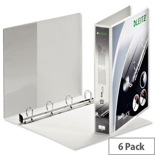 Leitz Softclick Presentation Ring Binder A4 White 30mm Capacity PVC 4 D-Ring 020001 Pack 6