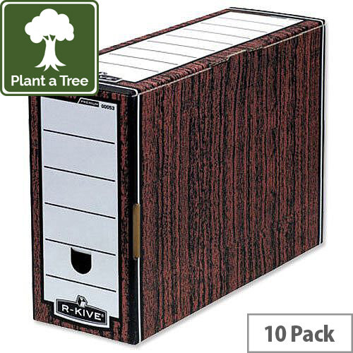 Fellowes Bankers Premium Woodgrain Transfer File Pack 10