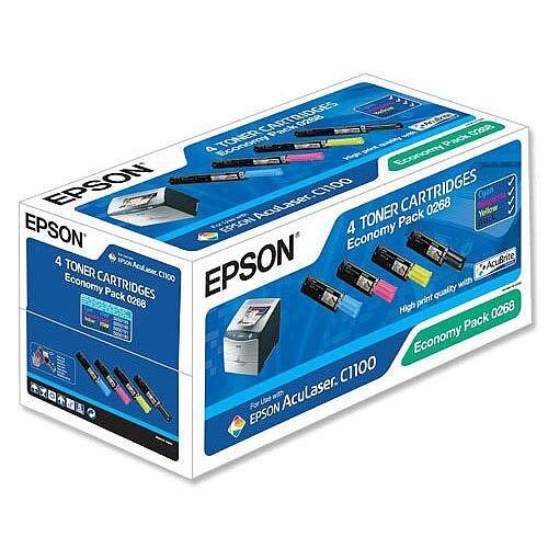 Epson S050268 4-Colour Toner Cartridge Economy Pack C13S050268 1500+ Pages