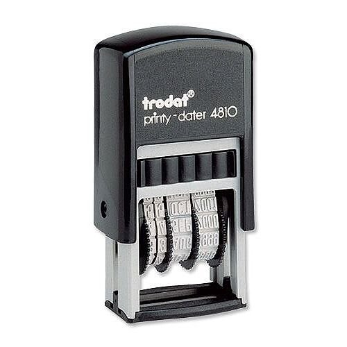 Trodat Printy Dater 4810 Stamp Self Inking 20 x 3.8mm Black - 70% recycled plastic - world's smallest and lightest self-inking stamps