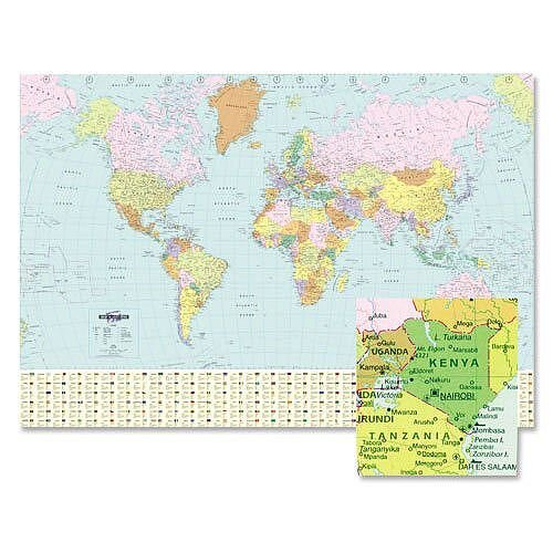 world map laminated unframed w1236 x h866mm bex map marketing