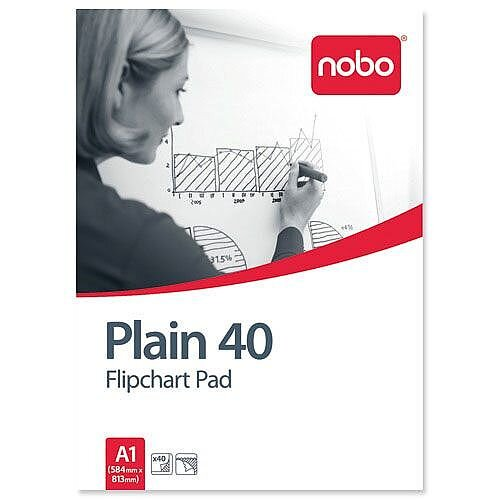 Nobo A1 Plain Flipchart Pad Perforated 40 Sheets Pack 5