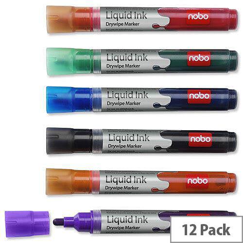 Nobo Drymarker Drywipe Marker Bullet Tip Assorted Pack 12