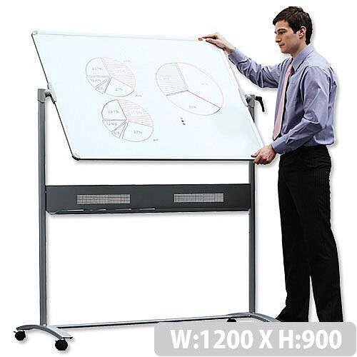 Nobo Mobile Magnetic Whiteboard Horizontal Pivot 1200 x 900mm