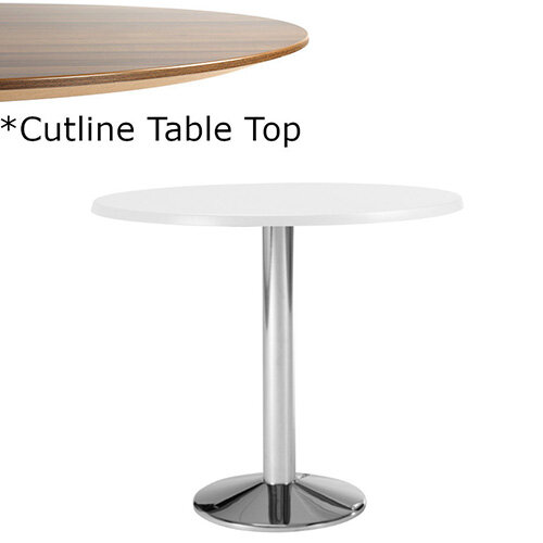 Frovi WEDGE Round Canteen Table With Chrome Base &Cutline Top Dia800xH730mm - Thin-Cut Appearance Laminated Surface For Heavy-Use Areas