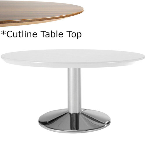 Frovi WEDGE Round Coffee Table With Chrome Base &Cutline Top Dia1000xH420mm - Thin-Cut Appearance Laminated Surface For Heavy-Use Areas