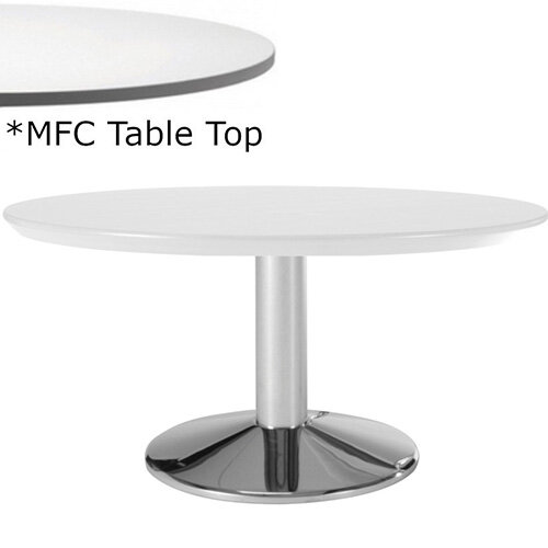 Frovi WEDGE Round Coffee Table With Chrome Base &MFC Top Dia1000xH420mm - Minimalist Design MFC Melamine Surface