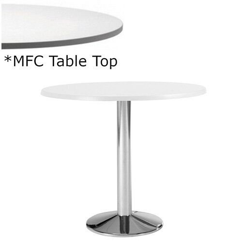 Frovi WEDGE Round Canteen Table With Chrome Base &MFC Top Dia1200xH730mm - Minimalist Design MFC Melamine Surface