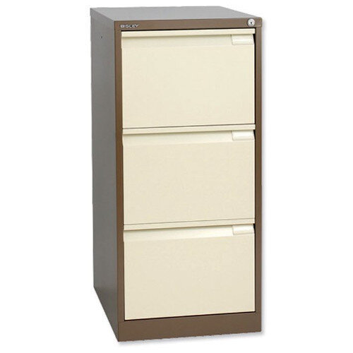 3 Drawer Steel Filing Cabinet Flush Front Brown &Cream Bisley BS3E