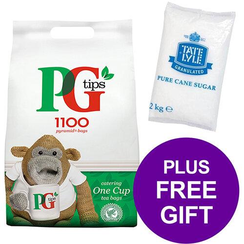 PG Tips 1100 Tea Bags Pyramid 1 Cup Ref 17948501 Pack of 2 [FREE Granulated Sugar Bag 2kg] Apr-Jun 2019