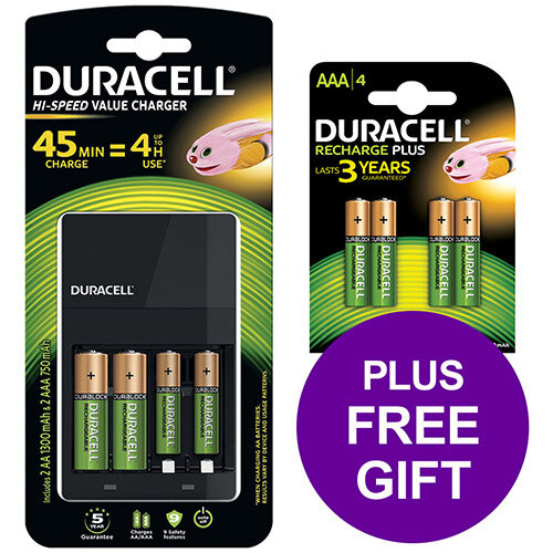 Duracell Battery Charger Hi Speed for AA/AAA Ref 81528873 (FREE AAA Battery Pack 4) Apr-Sep 2019