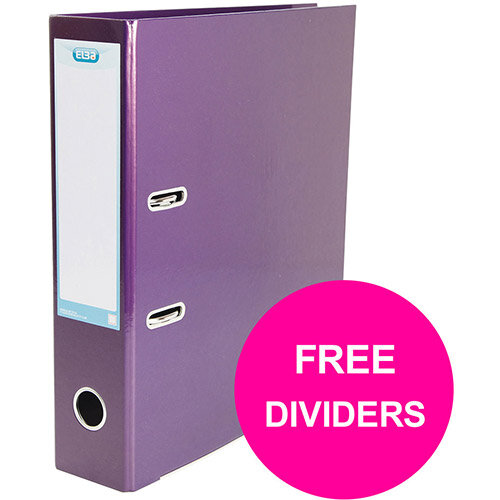 Elba Classy Lever Arch File 70mm Sp A4+ Met Purp Single Pack Ref 400021021 XX1220 (FREE Dividers) Jan 12/20