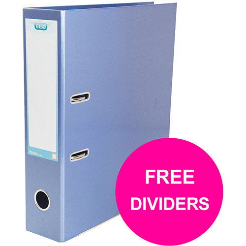 Elba Classy Lever Arch File 70mm Sp A4+ Met Blu Single Pack Ref 400021023 XX1220 (FREE Dividers) Jan12/20