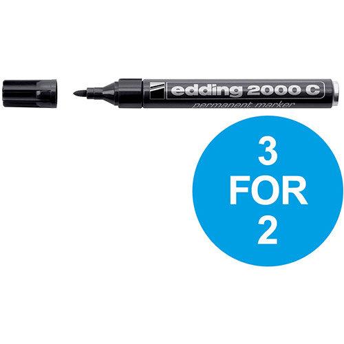 Edding 2000C Permanent Marker Bullet Tip 1.5-3mm Line Blk Ref 4-2000C001 Pack of 10 (3 For 2) Oct-Dec 2019