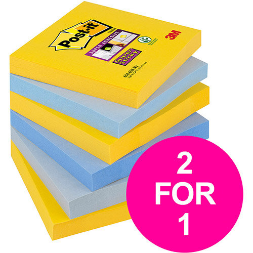 Post-it Super Sticky Notes New York 76x76mm Ref 654-6SS-NY Pack 6 (2 for 1) Jan-Mar 20