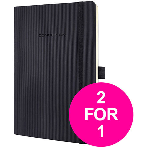 Sigel PEFC Concept Softcover Notebook A5 Black Ref CO321 (2 for 1) Jan-Mar 20