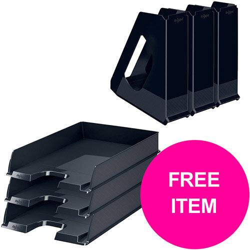 Rexel Choices Letter Trays A4 x3 &Mag Files x3 PP Black (Bundle Offer &FREE Matador Stapler) Jan-Mar 20