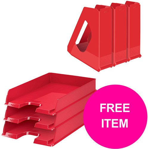 Rexel Choices Letter Trays A4 x3 &Mag Files x3 PP Red (Bundle Offer &FREE Matador Stapler) Jan-Mar 20