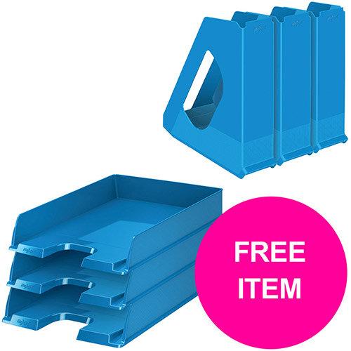 Rexel Choices Letter Trays A4 x3 &Mag Files x3 PP Blue (Bundle Offer &FREE Matador Stapler) Jan-Mar 20