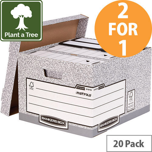 Bankers Box by Fellowes Large Storage Box Foolscap FSC Ref 01810SP2 Pack of 10 (2 for 1) Jan-Mar 20