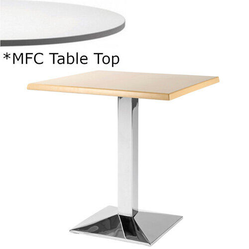 Frovi WEDGE Square Canteen Table With Chrome Base &MFC Top W800xD800xH730mm - Minimalist Design MFC Melamine Surface