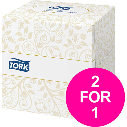 Tork Facial Tissues Cube 2 Ply 100 Sheets White Ref 140278 Pack of 30 (2 for 1) Jan-Mar 2020