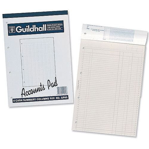 Guildhall Account Pad 6 Cash Column Ruled 41 Feint 60 Leaf A4 GP6