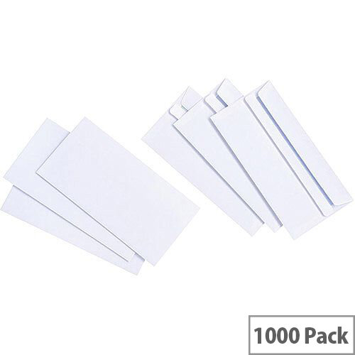 5 Star Value White DL Envelopes Self Seal Wallet 90gsm Pack of 1000