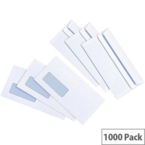 5 Star Value White DL Window Envelopes Self Seal Wallet 90gsm Pack of 1000