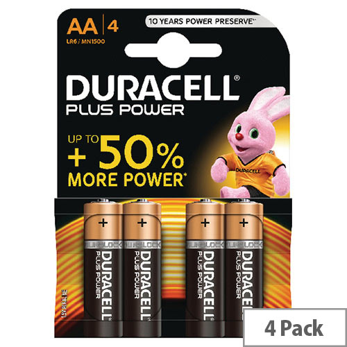 Duracell Plus AA 1.5V Battery Alkaline MN1500B4 Pack 4