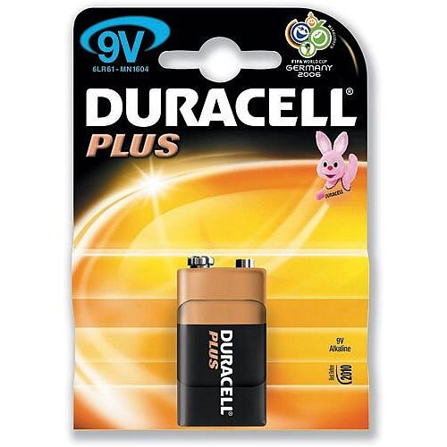 Duracell Plus 9 Volt Alkaline Battery - Suitable For Use With Portable Games Consoles, Shavers, Remote Controls, CD Players, Motorized Toys, Flashlights, Toothbrushes &More