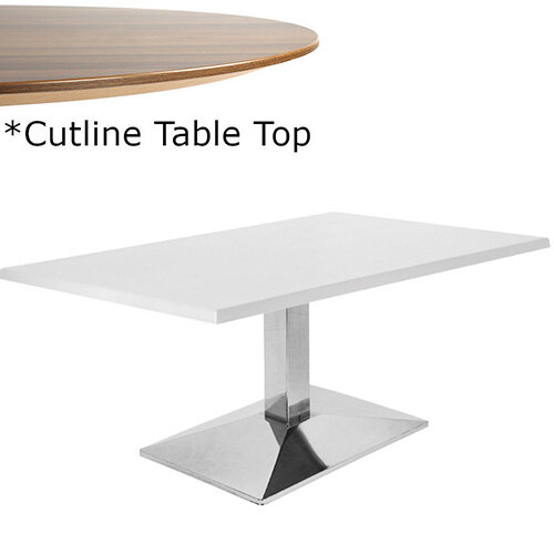 Frovi WEDGE Rectangular Coffee Table With Chrome Base &Cutline Top W1000xD600xH420mm - Thin-Cut Appearance Laminated Surface For Heavy-Use Areas