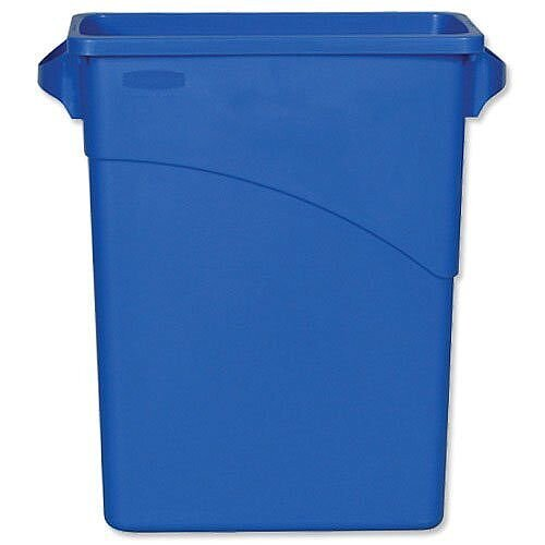 Rubbermaid Slim Jim Recycling Bin Container with Handles 60L Blue Without Lid